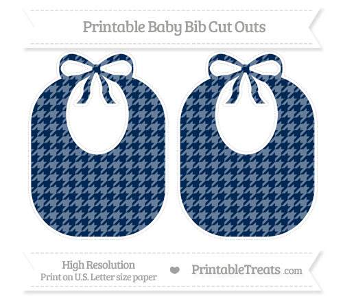Free Navy Blue Houndstooth Pattern Large Baby Bib Cut Outs