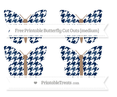 Free Navy Blue Houndstooth Pattern Medium Butterfly Cut Outs