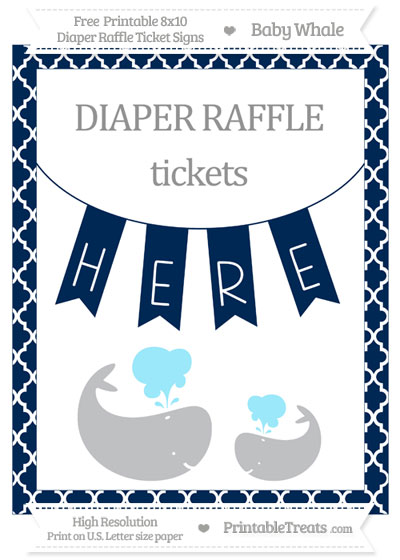 Free Navy Blue Moroccan Tile Baby Whale 8x10 Diaper Raffle Ticket Sign