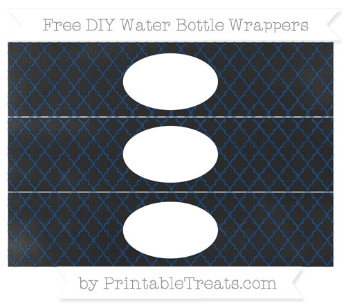 Free Navy Blue Moroccan Tile Chalk Style DIY Water Bottle Wrappers