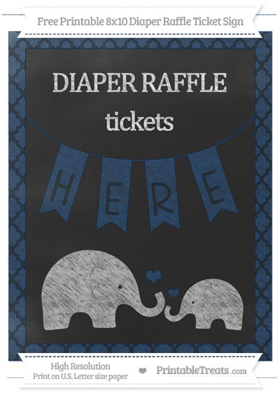 Free Navy Blue Moroccan Tile Chalk Style Elephant 8x10 Diaper Raffle Ticket Sign