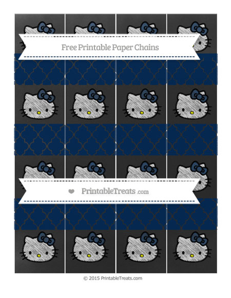 Free Navy Blue Moroccan Tile Chalk Style Hello Kitty Paper Chains