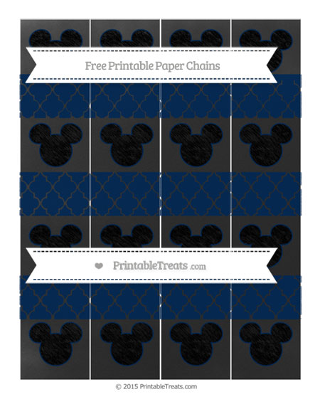 Free Navy Blue Moroccan Tile Chalk Style Mickey Mouse Paper Chains