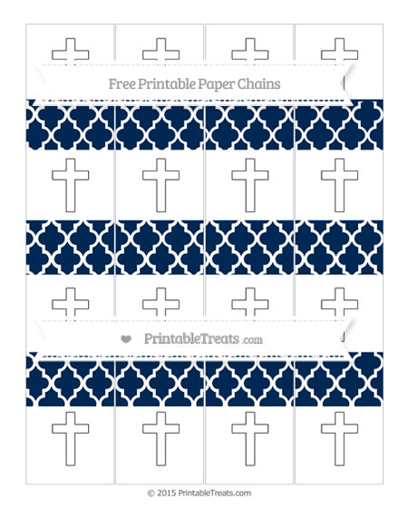 Free Navy Blue Moroccan Tile Cross Paper Chains