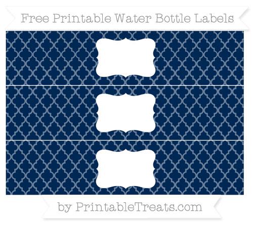 Free Navy Blue Moroccan Tile Water Bottle Labels