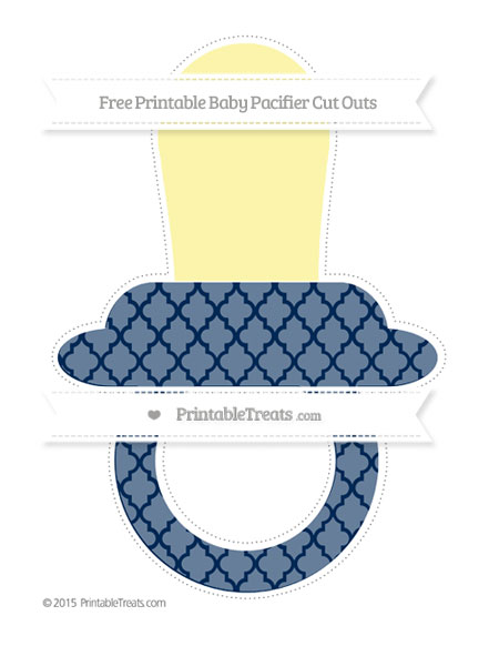 Free Navy Blue Moroccan Tile Extra Large Baby Pacifier Cut Outs