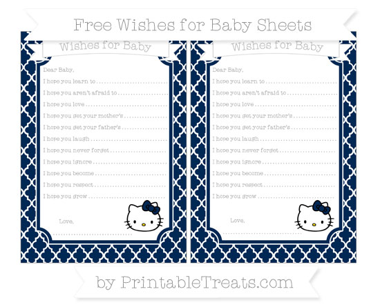 Free Navy Blue Moroccan Tile Hello Kitty Wishes for Baby Sheets