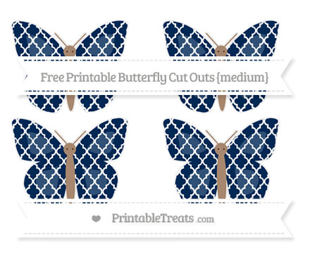 Free Navy Blue Moroccan Tile Medium Butterfly Cut Outs