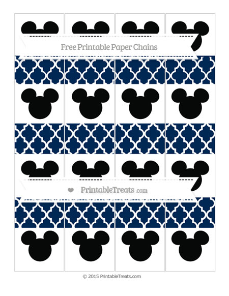 Free Navy Blue Moroccan Tile Mickey Mouse Paper Chains