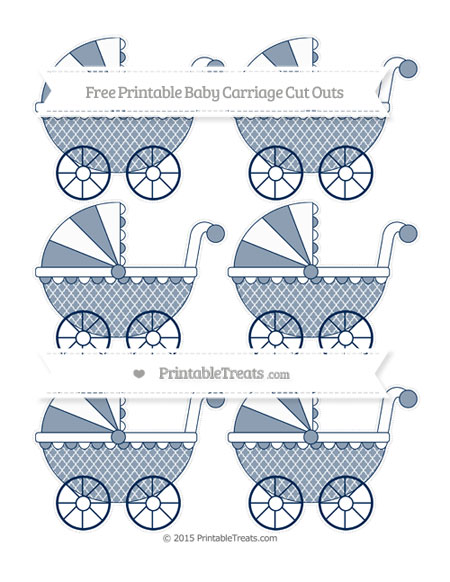 Free Navy Blue Moroccan Tile Small Baby Carriage Cut Outs
