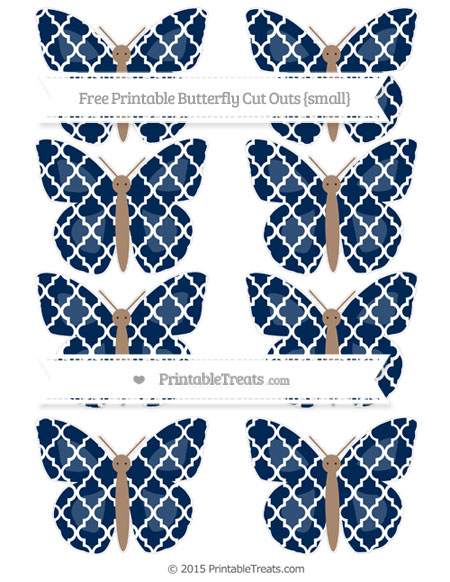Free Navy Blue Moroccan Tile Small Butterfly Cut Outs
