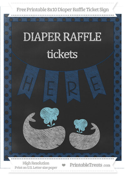 Free Navy Blue Polka Dot Chalk Style Baby Whale 8x10 Diaper Raffle Ticket Sign