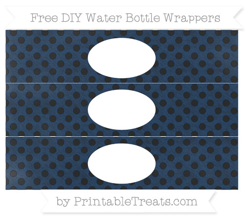 Free Navy Blue Polka Dot Chalk Style DIY Water Bottle Wrappers