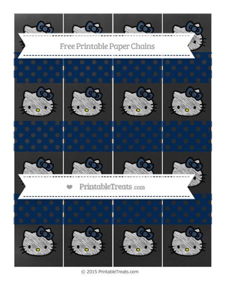 Free Navy Blue Polka Dot Chalk Style Hello Kitty Paper Chains