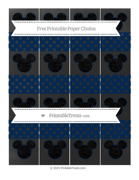 Free Navy Blue Polka Dot Chalk Style Mickey Mouse Paper Chains