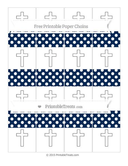 Free Navy Blue Polka Dot Cross Paper Chains