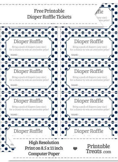 Free Navy Blue Polka Dot Diaper Raffle Tickets