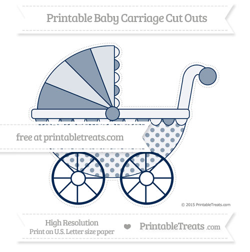Free Navy Blue Polka Dot Extra Large Baby Carriage Cut Outs