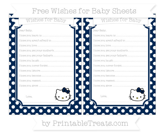 Free Navy Blue Polka Dot Hello Kitty Wishes for Baby Sheets