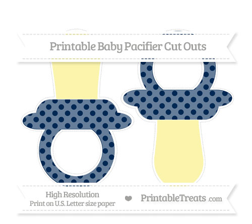 Free Navy Blue Polka Dot Large Baby Pacifier Cut Outs
