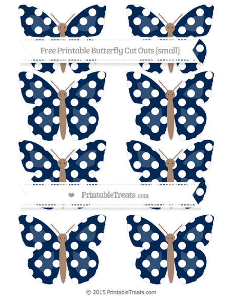 Free Navy Blue Polka Dot Small Butterfly Cut Outs
