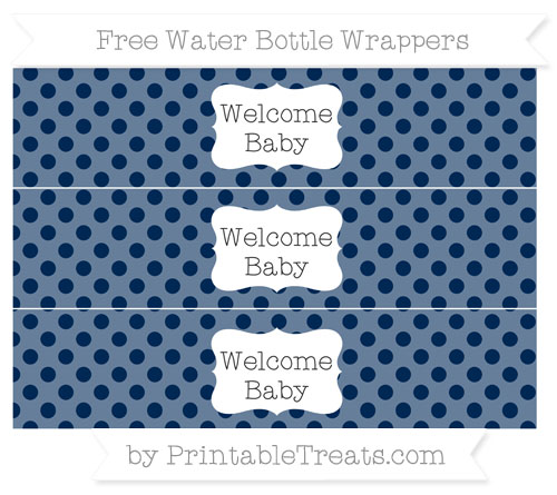 Free Navy Blue Polka Dot Welcome Baby Water Bottle Wrappers