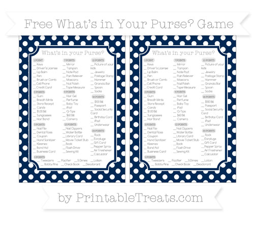Free Navy Blue Polka Dot What's in Your Purse Baby Shower Game