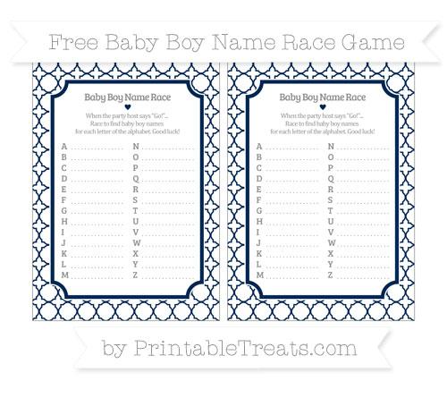 Free Navy Blue Quatrefoil Pattern Baby Boy Name Race Game