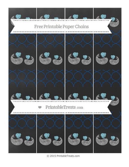 Free Navy Blue Quatrefoil Pattern Chalk Style Baby Whale Paper Chains