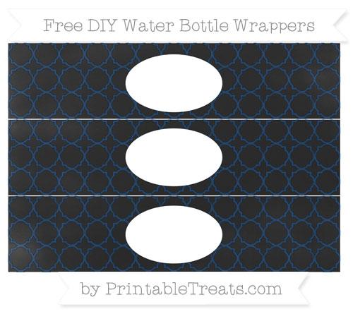 Free Navy Blue Quatrefoil Pattern Chalk Style DIY Water Bottle Wrappers