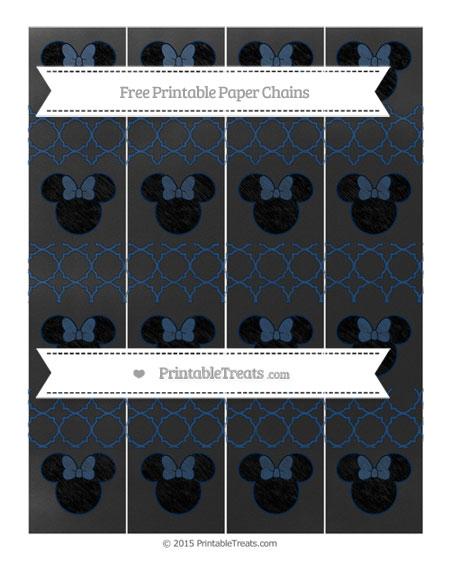 Free Navy Blue Quatrefoil Pattern Chalk Style Minnie Mouse Paper Chains