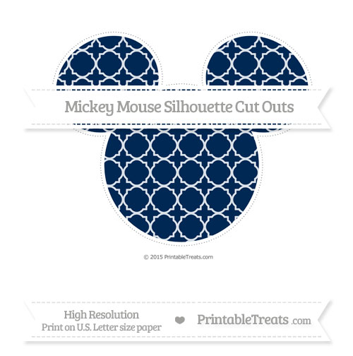 Free Navy Blue Quatrefoil Pattern Extra Large Mickey Mouse Silhouette Cut Outs