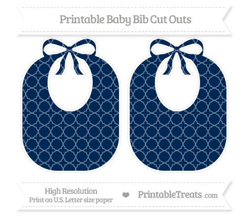 Free Navy Blue Quatrefoil Pattern Large Baby Bib Cut Outs