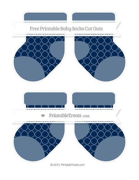 Free Navy Blue Quatrefoil Pattern Medium Baby Socks Cut Outs