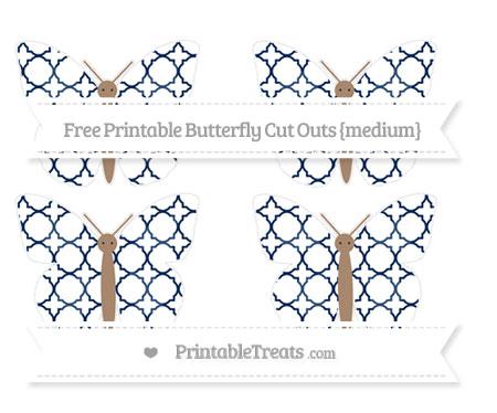 Free Navy Blue Quatrefoil Pattern Medium Butterfly Cut Outs