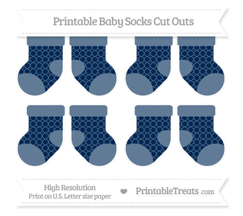 Free Navy Blue Quatrefoil Pattern Small Baby Socks Cut Outs