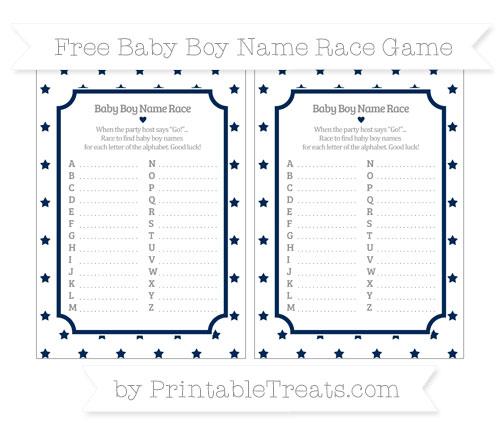 Free Navy Blue Star Pattern Baby Boy Name Race Game