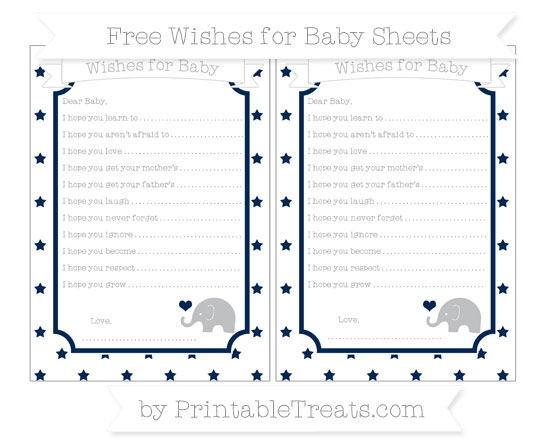 Free Navy Blue Star Pattern Baby Elephant Wishes for Baby Sheets