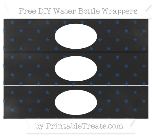 Free Navy Blue Star Pattern Chalk Style DIY Water Bottle Wrappers