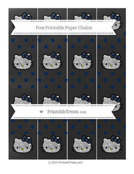 Free Navy Blue Star Pattern Chalk Style Hello Kitty Paper Chains