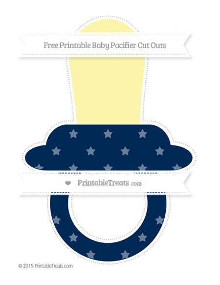 Free Navy Blue Star Pattern Extra Large Baby Pacifier Cut Outs