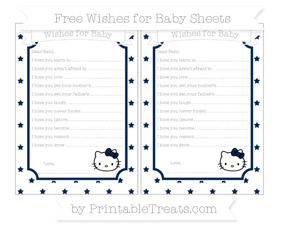 Free Navy Blue Star Pattern Hello Kitty Wishes for Baby Sheets