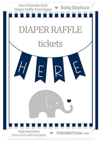 Free Navy Blue Striped Baby Elephant 8x10 Diaper Raffle Ticket Sign
