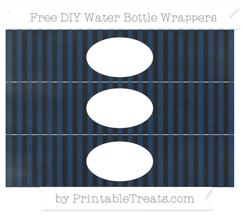 Free Navy Blue Striped Chalk Style DIY Water Bottle Wrappers