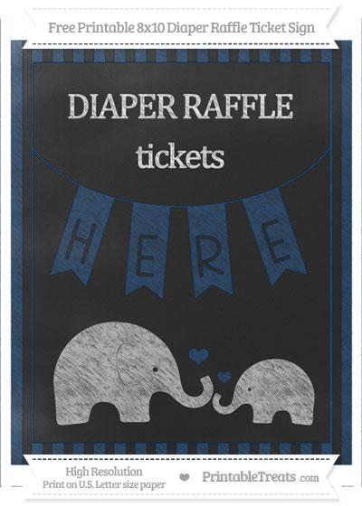 Free Navy Blue Striped Chalk Style Elephant 8x10 Diaper Raffle Ticket Sign