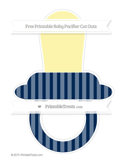 Free Navy Blue Striped Extra Large Baby Pacifier Cut Outs