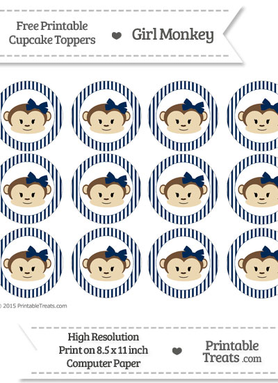 Free Navy Blue Striped Girl Monkey Cupcake Toppers