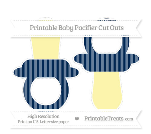 Free Navy Blue Striped Large Baby Pacifier Cut Outs