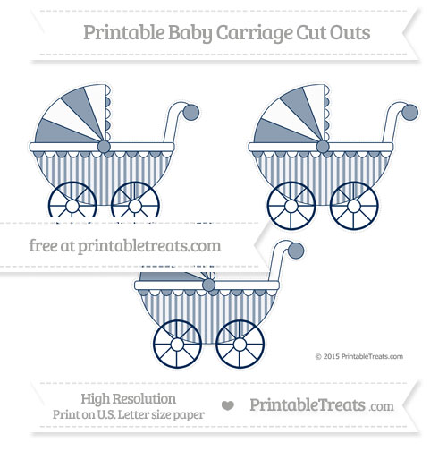 Free Navy Blue Striped Medium Baby Carriage Cut Outs