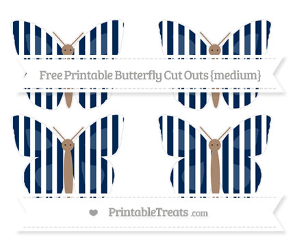 Free Navy Blue Striped Medium Butterfly Cut Outs